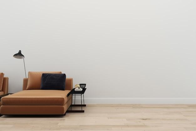 革のソファ白い壁の木の床のコピースペースのテンプレートの3dレンダリングの背景