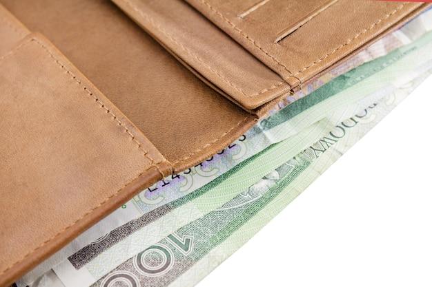 가죽 지갑. 흰색 배경에 100 즐로티, 폴란드 돈의 지폐