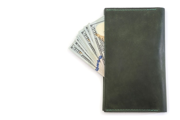 Leather wallet and us dollars isolated. copy space.