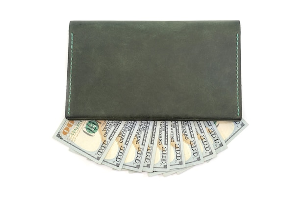 Leather wallet and us dollars isolated.