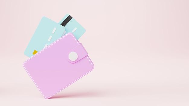 아이콘 3d 렌더링 그림 안에 신용 카드와 가죽 지갑
