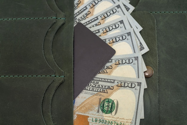 Leather wallet with dollars and a credit card inside. close-up.