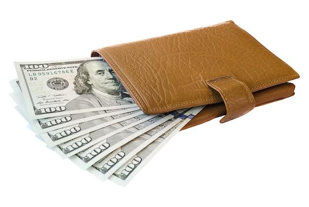 百ドル紙幣の革財布