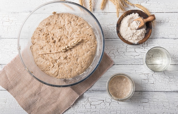 The leaven for bread is active. starter sourdough ( fermented mixture of water and flour to use as leaven for bread baking). the concept of a healthy diet