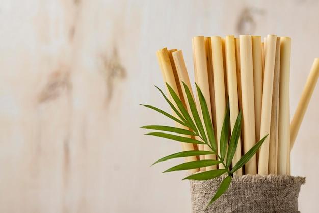 Листья и экологически чистые бамбуковые трубчатые соломинки
