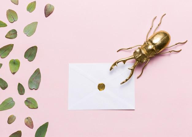 Leaves, beetle and envelope