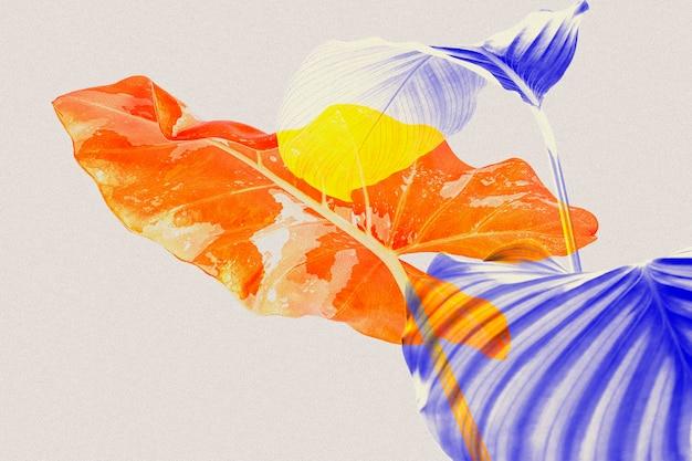 Foglie in doppia esposizione astratta a colori remixati media