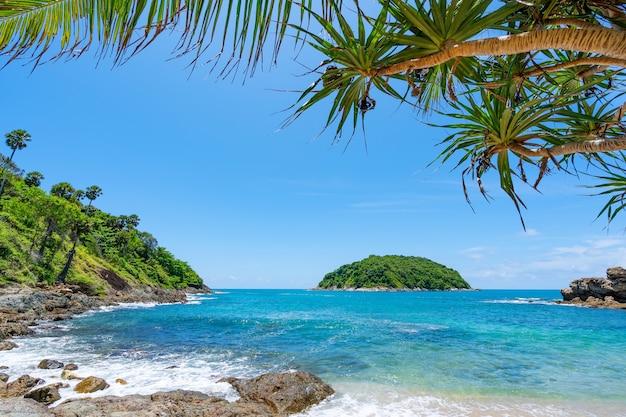 여름 바다 해변과 프레임을 나뭇잎 놀라운 바다 맑고 푸른 하늘과 구름 해변 나무에 부서 지는 파도 아름 다운 잎 바다 위에 프레임을 복사 공간.