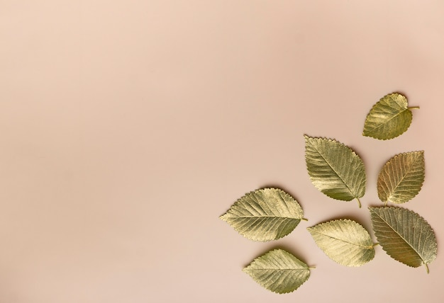 Листья в золотой краске на бежевом фоне в правом нижнем углу осенней концепции вид сверху