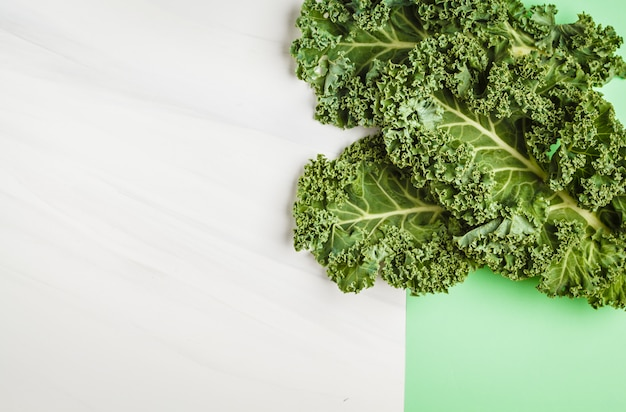 Leaves of kale on a white green background. top view, copy space.