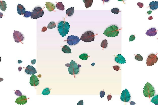 明るいパステルカラーの背景に落ちるさまざまな色の葉