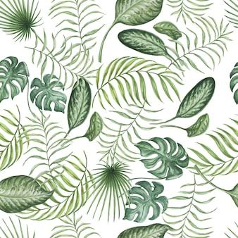 熱帯のジャングルのヤシの木の水彩画手描きイラストを残します