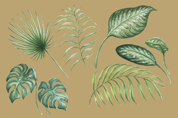 熱帯のジャングルの水彩画手描きイラストを残します