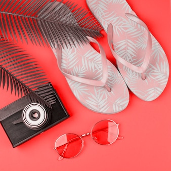 Leaves; vintage camera; sunglasses and pink flippers on coral background