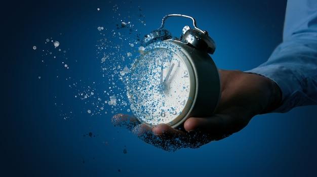 Leaving concept, clock breaks into pieces