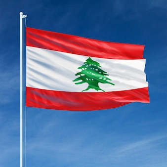 Lebanon flag flying