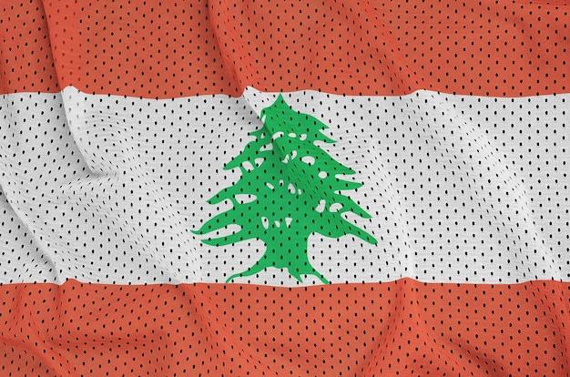 Lebanon flag printed on a polyester nylon sportswear mesh fabric