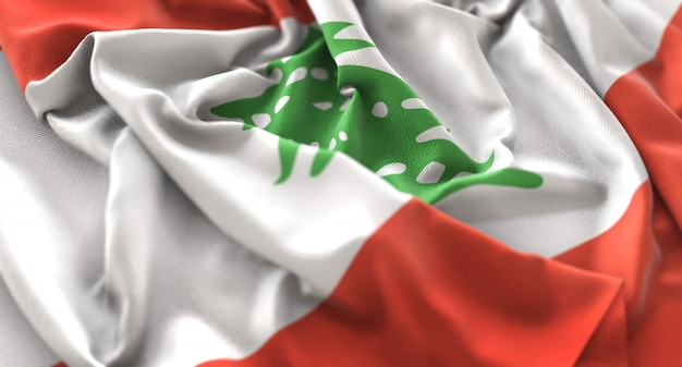Lebanon flag ruffled beautifully waving macro close-up shot