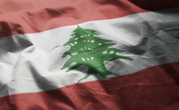 Lebanon flag rumpled close up