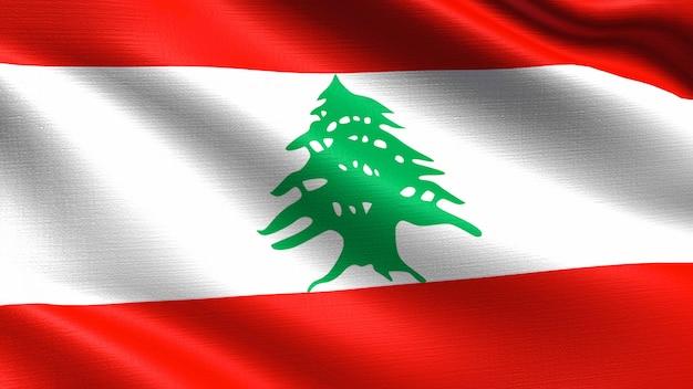 패브릭 질감을 흔들며 레바논 깃발
