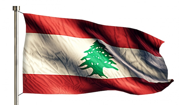 Lebanon national flag isolated 3d white background