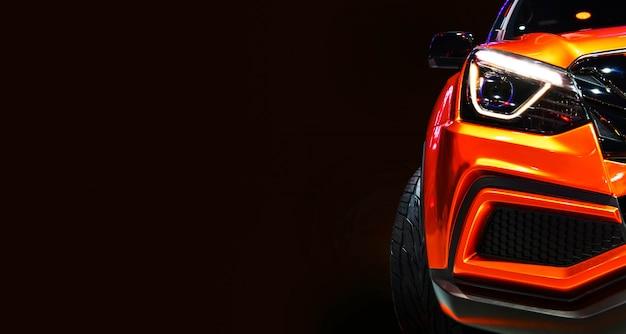 黒い背景にledヘッドライト現代車の1つの詳細