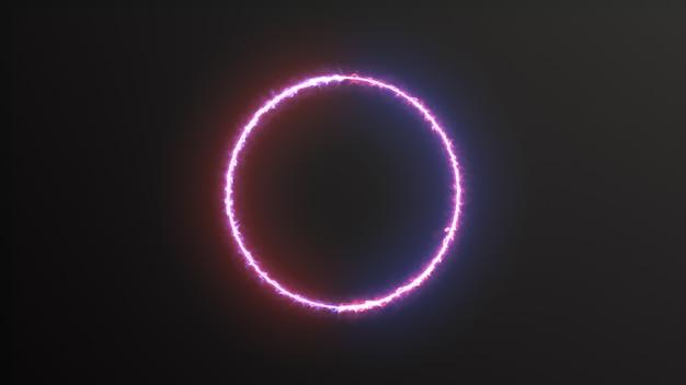 ネオンサークルledアニメーション3 dレンダリングと抽象的な背景青赤スペクトル蛍光灯