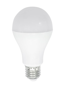 Led bulb isolated on white wall