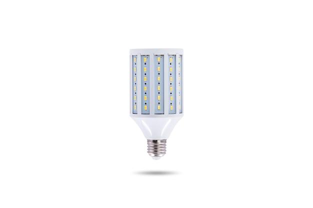 Led 에너지 절약 램프, 나사 캡 e27 230v 흰색 배경에 고립.