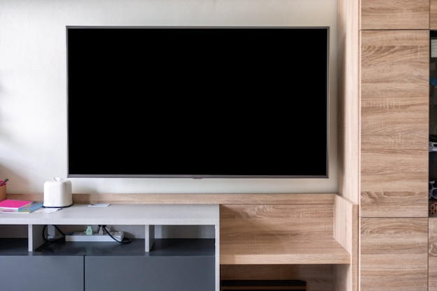Led flat screen tv hanging on wall