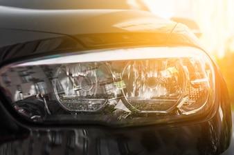 Led headlight ofblack car