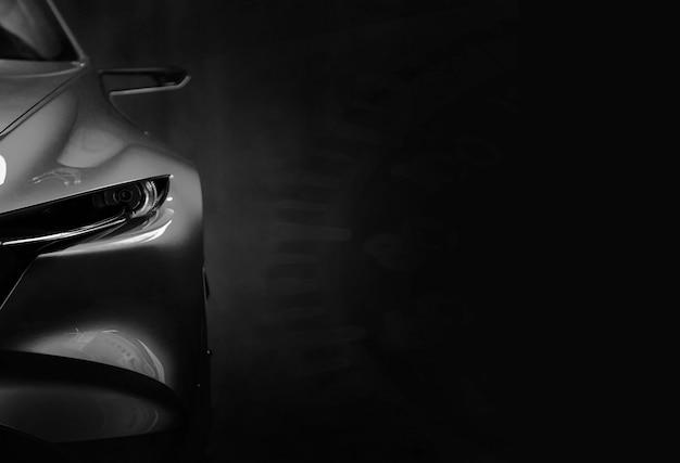 Светодиодные фары современного автомобиля на черном