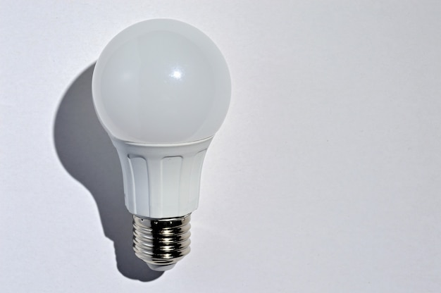 Led lamp on a white background. top view.
