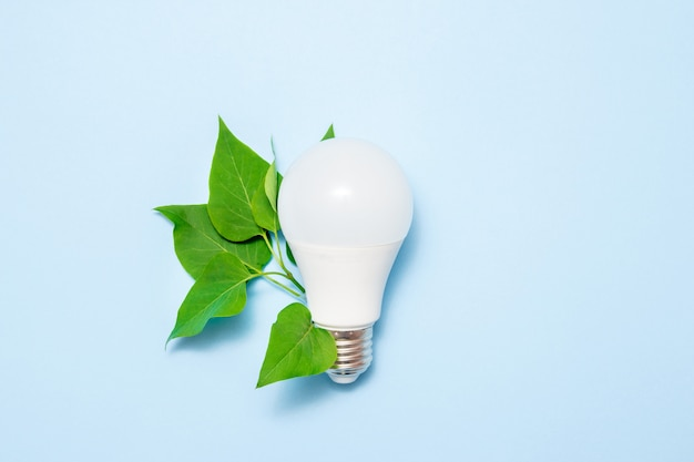 Led lamp with leaves on a blue background