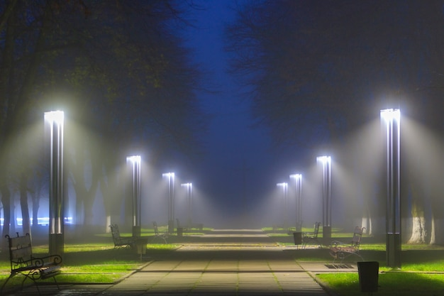 Led lanterns illuminated deserted alley in foggy night