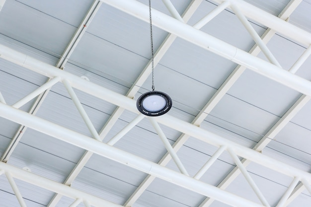 Led lighting lamp on a top roof of warehouse.