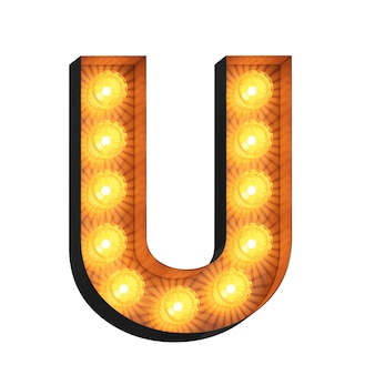 Led marquee letter u on white background