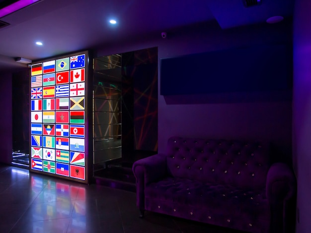 Led screen with the flags of the world countries