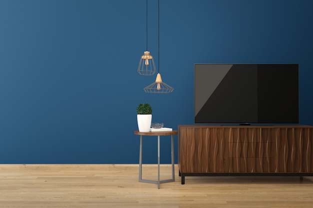 Led tv on blue wall wood floor