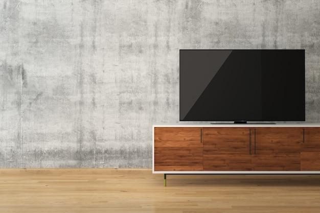 Tv 스탠드 콘크리트 벽 나무 바닥 인테리어 룸에서 led tv