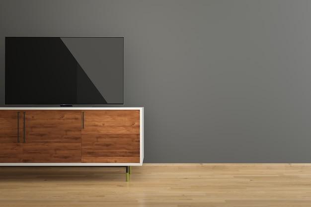 Tv 스탠드 어두운 회색 벽 나무 바닥 인테리어 룸에서 led tv