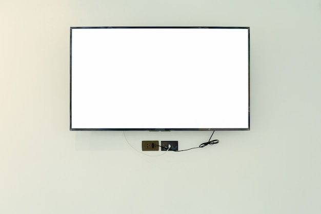 Led tv television screen mockup / mock up, blank on white wall background