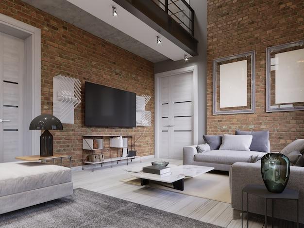 로프트 아파트, 거실의 배경 벽돌 벽에 tv 스탠드가 있는 led tv. 3d 렌더링
