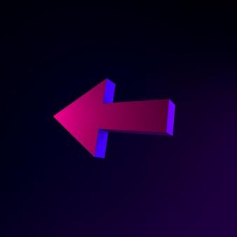 Неоновая стрелка влево. 3d рендеринг элемента интерфейса ui ux. темный светящийся символ.