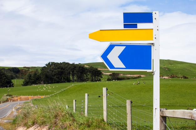 Left direction road sign