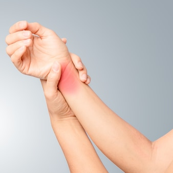 Left hand holding right wrist joint and swelling around joint