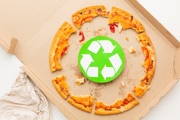 Leftover pizza food and recycle symbol