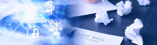 法的概念。最後の意志を書くための手順。テーブルの上に証のある紙。最後の遺言と遺言の登録。