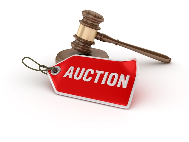 Legal gavel with auction tag