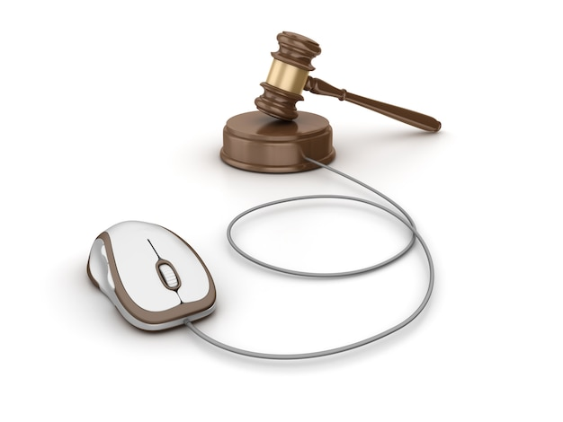 Legal gavel with computer mouse